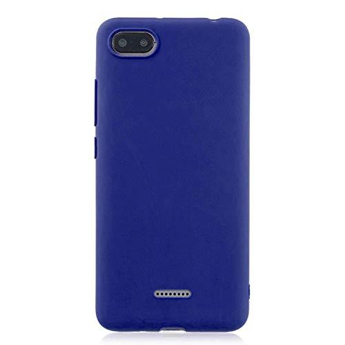 cuzz Funda para Xiaomi Redmi 6A+{Protector de Pantalla de Vidrio Templado} Carcasa Silicona Suave Gel Rasguño y Resistente Teléfono Móvil Cover-Azul Oscuro