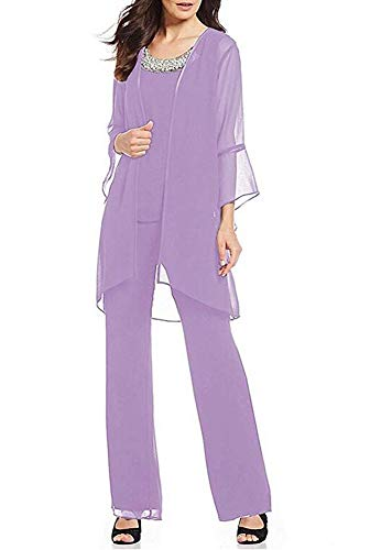 Women's Lavender Formal Mother of The Bride Dress Pant Suits 3 Pieces Chiffon Outfit for Wedding Grooms Plus Size US18W