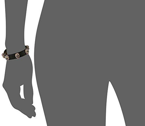 Betsey Johnson Pink and Gold Black Leather Bracelet