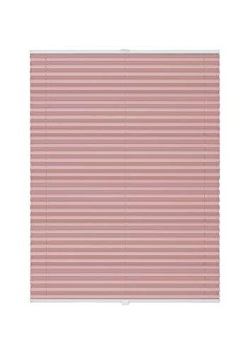 Plissee auf Maß Fenster Montage Glasleiste Blickdicht mit Spannschuh Sonnenschutz Maßanfertigung Fachhandelsqualität Rosa B: 30-40 cm, H: 101-150 cm
