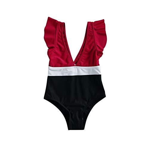 Bañador para bebé, bañador de una Pieza con Escote en Pico Profundo y Shorts (Red Black, 160)