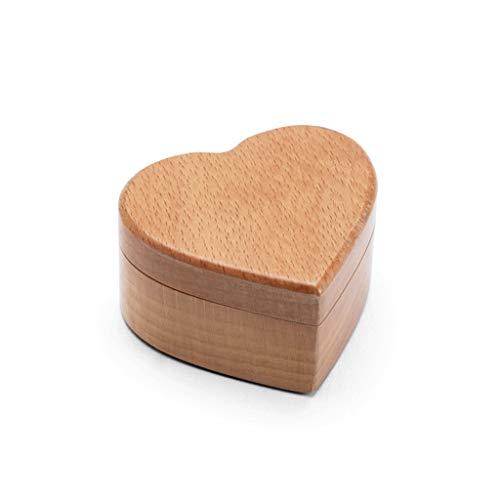 Xushiwanju Sieraden Opbergdoos Ring Box|Juwelendoos|Walnoot Elm|Zwart Hout Kleur Hout|Effen Hart Sieraden Box 160G | 6 * 5.5 * 3.2cm|Handgemaakte Box|Bruiloft Enkele Ring Sieraden Opbergdoos|