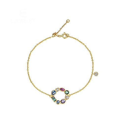Schmuck Regenbogen Armbänder Für Frauen 925 Sterling Silber Hohl Rundes Herz Charm Armband Goldkette Armreif Verstellbar 19,5 Cm