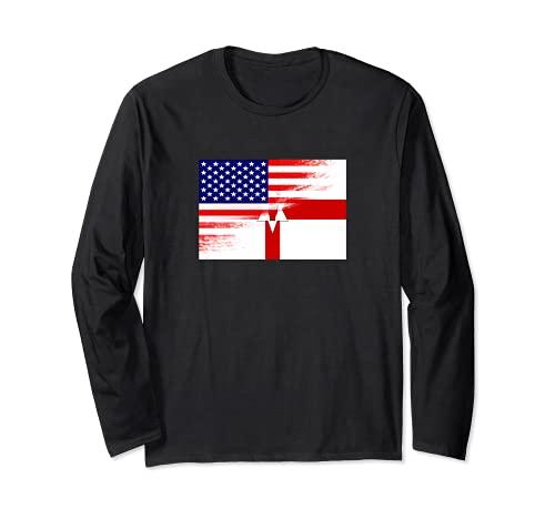 USA Ulster バナー 北アイルランド国旗 先祖 遺産 長袖Tシャツ