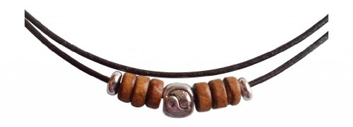 ShoreThing UK, collana in pelle marrone tibetana, con yin e yang in argento yin Yang & design in legno collana da surf: regolabile marrone/argento
