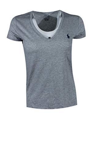 Polo Ralph Lauren Womens Pony Logo V-Neck T-Shirt (Large, Taylor Heather (Navy Pony))