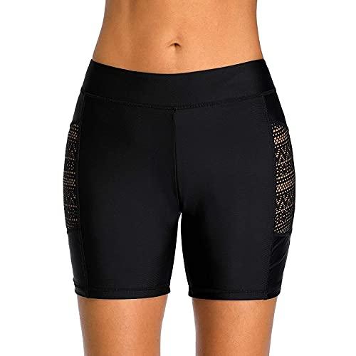 aijofi Badeshorts Damen High Waist Badehose Badeanzug Badebekleidung Baden Spitze Strandshorts Schwimmshorts Hose Beach Shorts