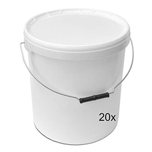 plasteo Plastikeimer Leereimer Kunststoffeimer Weiß   5,10,20,30 Liter (20 St, 20 Liter)