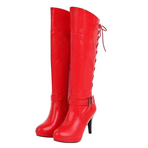 Bigtree Botas de Tacón Alto para Mujer Crisscross Lace Up PU Plataforma de Cuero Botas hasta la Rodilla con Cremallera Rojo 44 EU