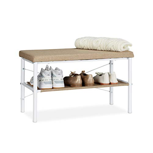 Relaxdays Schuhbank mit Sitzfläche, Flurbank mit Ablage, gepolsterte Sitzbank für Schuhe, HBT 42x72x32 cm, weiß/beige