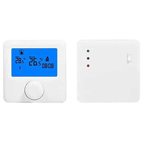 ZLININ Controlador de Temperatura, Controlador de Temperatura del termostato de calefacción inalámbrico LCD Digital LCD RF para el Sistema de calefacción eléctrica