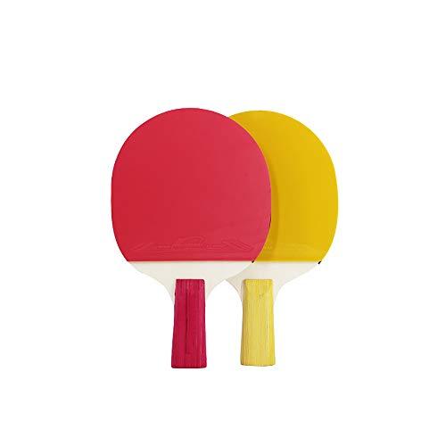 Bocotoer Juego de ping-pong portátil, paquete de tenis de mesa, ideal para todas las edades, para actividades en interiores y exteriores, color amarillo rosa