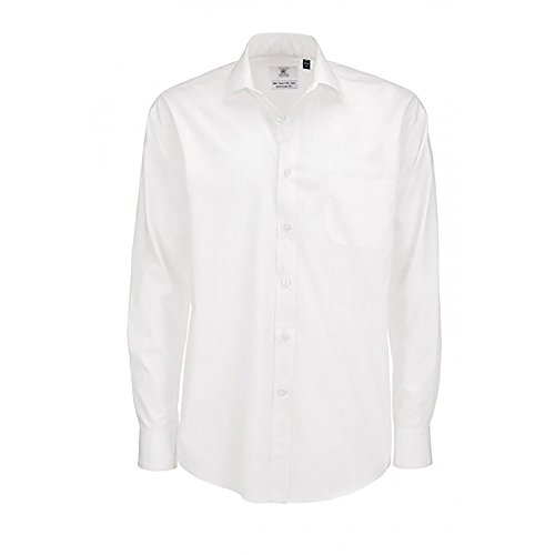 B&C Smart Long Sleeve Poplin Shirt Chemise Business, Blanc (White 000), 19 (Taille Fabricant: XXX-Large) Homme