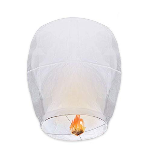 OUTERDO 20 Pack White Chinese Lanterns - Biodegradable Paper Lanterns Assortment for Birthdays, Parties, New Years, Memorial Ceremonies and More(White)