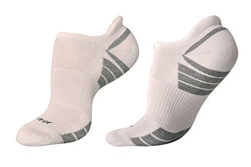 Woolrior Merino - Calcetines antiampollas para mujer, cojín, sin presentación, soporte de flecha, lana merino orgánica sin cloro (1 par), color Blanco/Gris, tamaño pequeño