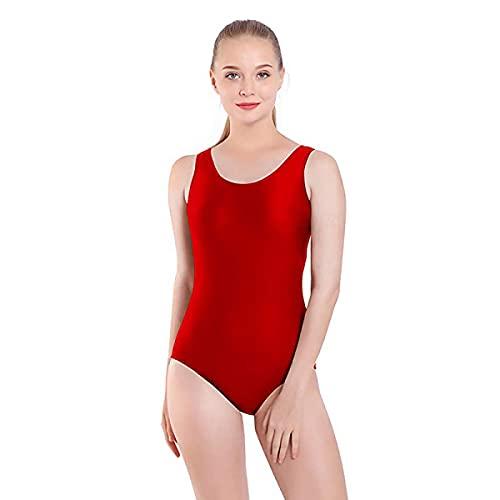 Body da danza classica senza maniche con cinghia larga, body classico da donna a collo rotondo rosso M