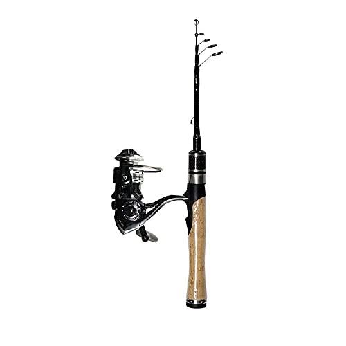 Cañas de pescar, YG Viajes Rodilla de pesca 1.25 m 1.5 m Varilla de pesca telescópica de carbono 2-7 g Peso de señuelo ultraligero Varilla de hilado de carbono Trucha Juego de pesca Metal Rueda de hil