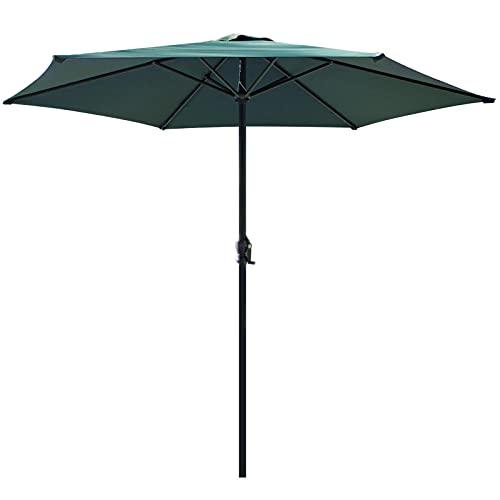 Ombrellone parasole rotondo con diametro di 270 cm, per balcone, giardino, terrazza, protezione solare UV50+, pieghevole, giardino, balcone, terrazzo, verde