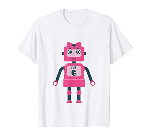 Camisa de 6 cumpleaños de las niñas de regalo Seis Robots de Camiseta