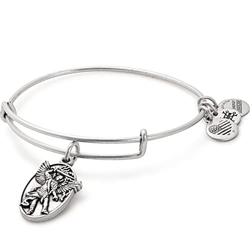 Alex and Ani Divine Guides Expandable Bangle Bracelet for Women, Archangel Michael Engraved Charm, Rafaelian Silver Finish, 2 to 3.5 in