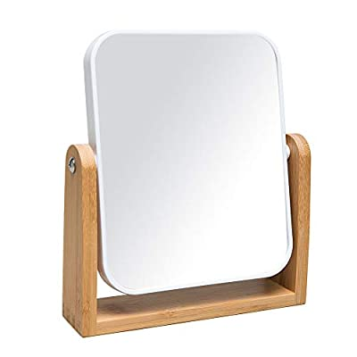 YEAKE Vanity Makeup Mirror with Natural Bamboo Stand, 8 Inch 1X/3X Magnification Double Sided 360 Degree Swivel Magnifying Mirror,Portable Table Desk Countertop Mirror Bathroom Shaving Make Up Mirror,Portable Table Desk Countertop Mirror Bathroom Shaving