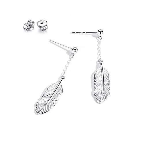 Fu You Boucles d'oreilles en Argent Sterling 925 avec Clous Boucles d Oreilles Pendantes Plume pour Femme Cadeau Parfait
