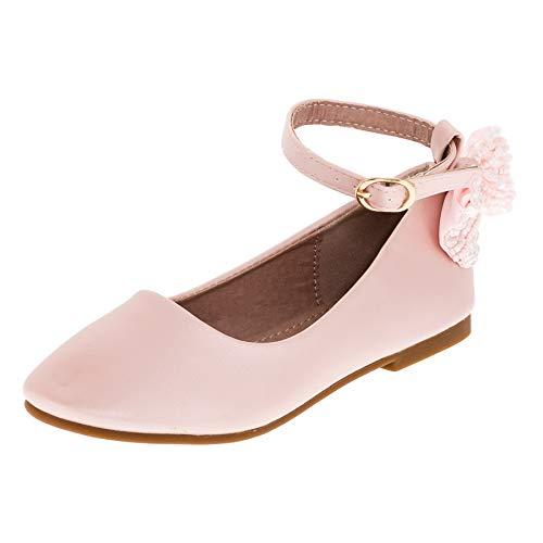 Dorémi Festliche Kinder Mädchen Ballerinas Schuhe mit Zierblume M420rs Rosa 36