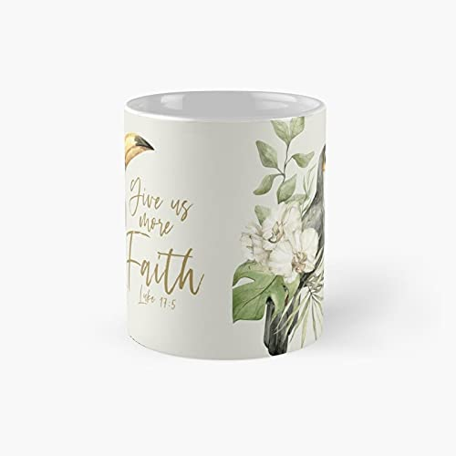 Give Us More Faith Toucan Classic Mug - Ceramic Coffee White (11 Ounce) Tea Cup Gifts for Bestie, Mom and Dad, Lover, LGBT