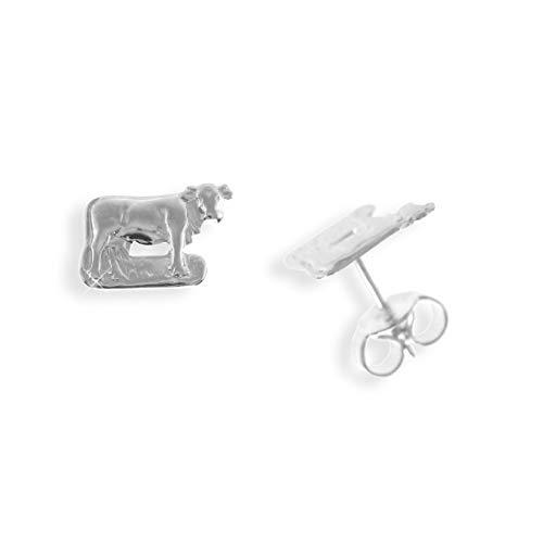 Ohrstecker per Stück echt Sterling Silber 925 mit Kuh (Art 602068/811031)