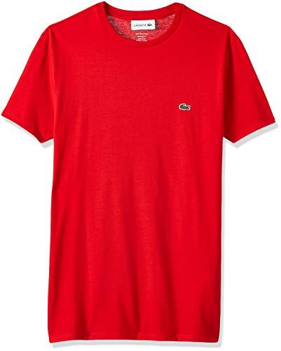 Lacoste Men's Short Sleeve Crew Neck Pima Cotton Jersey T-shirt, Red Bright, M