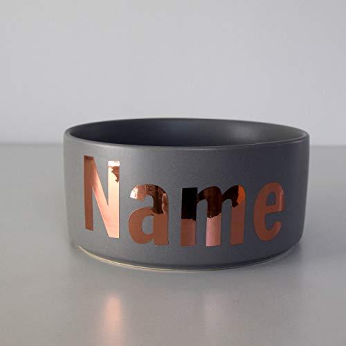 Paw Companion Futternapf Napf Wassernapf Keramik für Hunde, Katzen, Haustiere mit Namen oder Wunschtext personalisiert, 3 Größen, grau L (1800 ml)