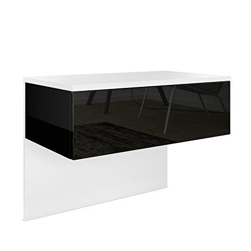 Vladon Nachttisch Nachtkonsole Sleep, Korpus in Weiß matt/Front und Seiten in Schwarz Hochglanz