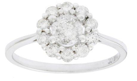 Damen Verlobungsring Ehering Set 14K Weißgold echter Diamant Pave gesetzt 3/4ct Gesamtgewicht Rundschnitt (G-H, I1)