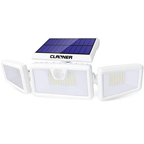 Claoner Luce Solare LED Esterno, 132 LEDs Lampade Solari Da Esterno Con Sensore Di Movimento IP65 Impermeabile Lampade Da Parete 3 Teste Orientabile 360° Sicurezza Faretti Solari Per Giardino, Garage