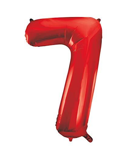 Unique Party- Globo gigante número 7, Color rojo, 86 cm (55857) , color/modelo surtido