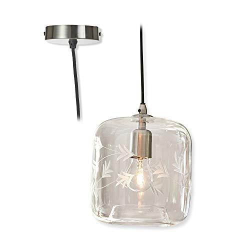 Loberon Hängelampe Virtas, Glas, H/B/T ca. 25/20 / 20 cm, klar, E27, max. 40 Watt
