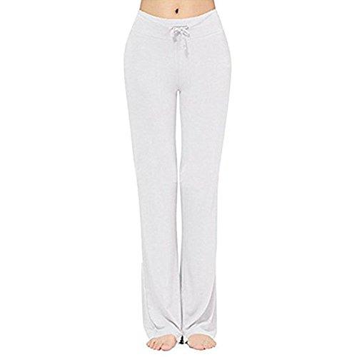 Huateng Frauen-Sport-Hosen-Art und Weise Mittlere Taille Normallack-Hosen-Bequeme Dehnbare elastische Taillen-lose Sitz-Hosen-Hose mit Kordelzug Jeggings für Sport Yoga