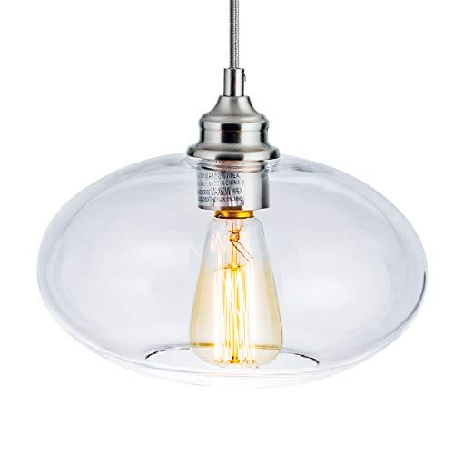 LANROS Modern Chic 1-Light Glass Pendant Lighting Mini Oval Glass Pendant Ceiling Light Fixture for Kitchen Island Bedroom Bathroom Brushed Nickel