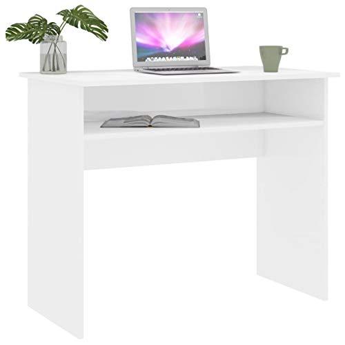 Extaum Schreibtisch Computertisch Tabelle Konsole Kinderschreibtisch Hochglanz-Weiß 90×50×74 cm Spanplatte