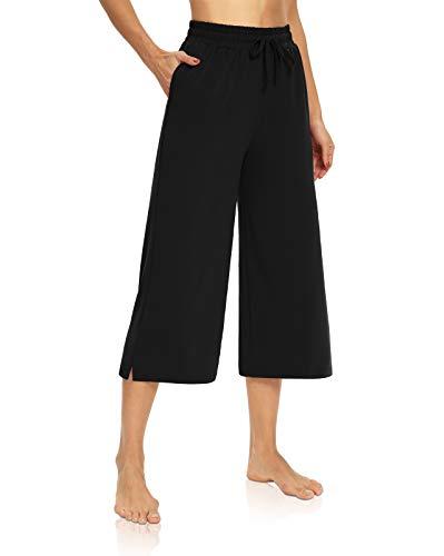 DIBAOLONG Womens Capri Pants Loose Yoga Pants Wide Leg Drawstring Comfy Lounge Pajama Capris Sweatpants with Pockets Black M