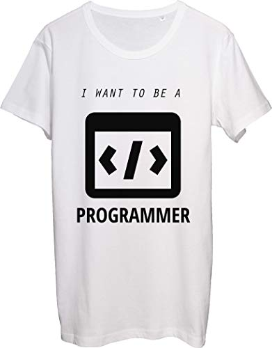I Want to Be A Programmer, More, Less, Equal Signs Herren T-Shirt bnft Gr. L, weiß