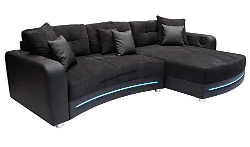 lifestyle4living Sofá en Negro (Piel sintética, Microfibra) Incluye Multi Media del Paquete y LED de iluminación, 2Talla cojín y 4KL. Cojín, tamaño hasta el Muslo: 322/190cm
