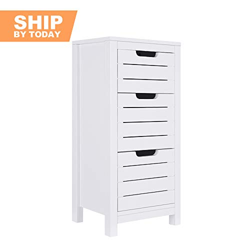 ChooChoo Bathroom Storage Cabinet, Free Standing Floor Cabinet with 3 Drawers and Stoppers, Wooden Bathroom Cabinet for Bedroom, Living Room, Office -White