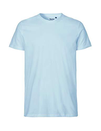 -Neutral- T-Shirt, 100% Bio-Baumwolle. Fairtrade, Oeko-Tex und Ecolabel Zertifiziert, Textilfarbe: hellblau, Gr.: M