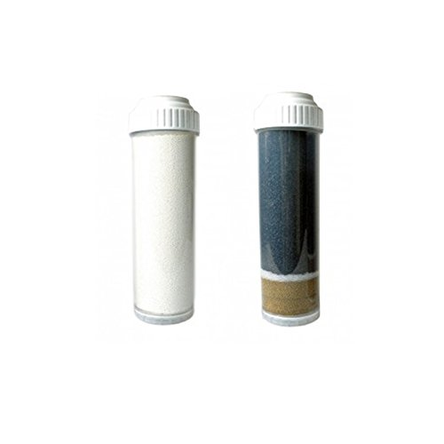 CuZn Dual Cartridge Replacement Filters Model# FR-1 Fluoride Cartridge & KR-101N Wide Spectrum Cartridge for UC-2K Under Counter & Counter Top Water Filtration Systems (2.5