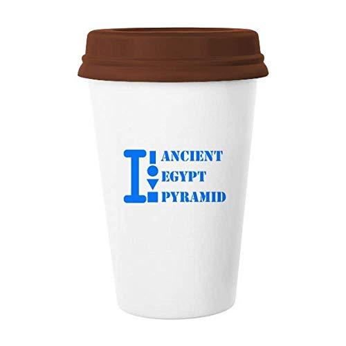 Taza de cerámica con tapa para taza de café, cristal y cerámica, diseño de pirámide de Egipto