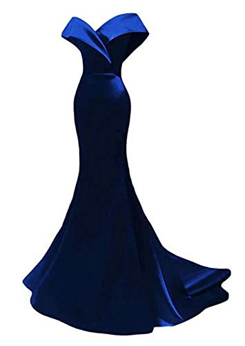 Off The Shoulder Mermaid Prom Dresses Long Satin Bridesmaid Dresses Wedding Party Gowns for Women Royal Blue