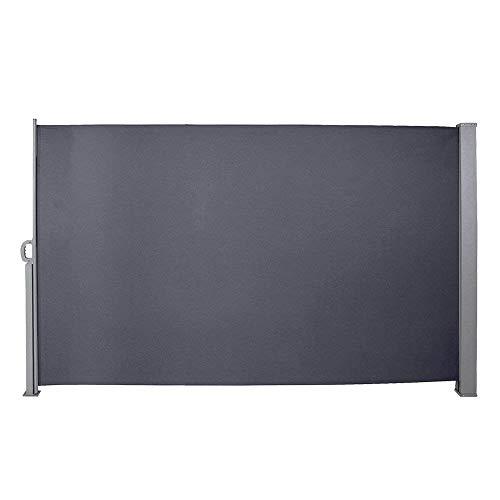 huigou HG® 180x300cm Markise Seitenmarkise Sonnenschutz inkl. Montagematerial Terrassenwindschutz für Terrasse Camping seitlicher Windschutz Aluminium grau