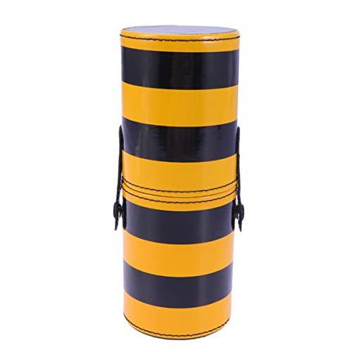 SUPVOX Leather Makeup Brush Holder Make Up Cosmetic Cup Holders Storage Organizer Case Box (Black Yellow Stripe)