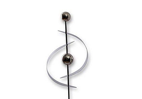 Gartenstecker Segel Form mit 2 Kugeln Edelstahl Metall Garten Stab Deko Figur